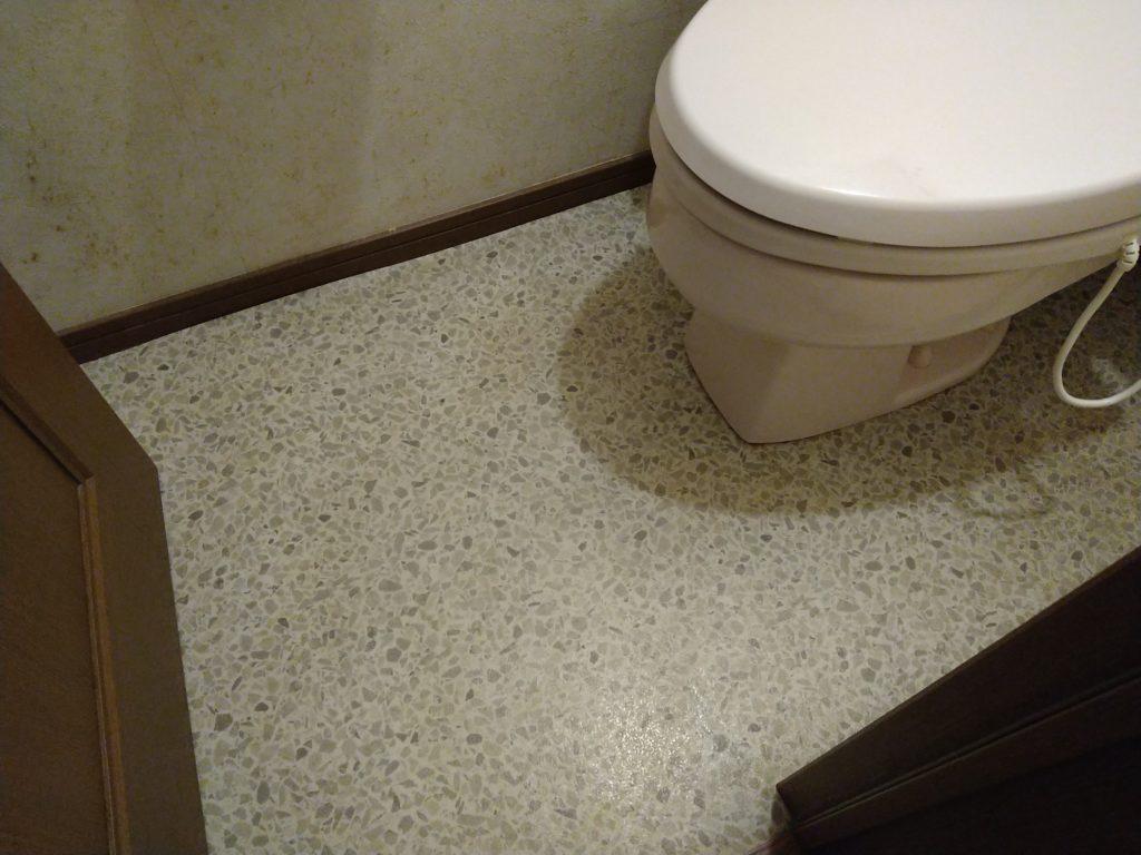 古いトイレの床のしみ。臭いも残っている